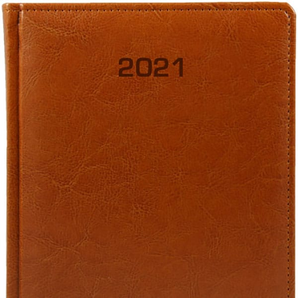 Kalendarze książkowe A5 2021 jasny braz